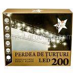 Perdea Luminoasa cu Turturi pentru Exterior 200 Becuri Albe 9.8m