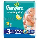 - Scutece PAMPERS Active Baby-Dry [3, Midi, 4-9Kg] 22buc