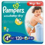 - Scutece PAMPERS Active Baby-Dry [4+, Maxi Plus, 9-16Kg] 120buc
